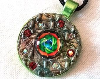Mandala, Leaves, Meditation, Mosaic Pendant, PA-143