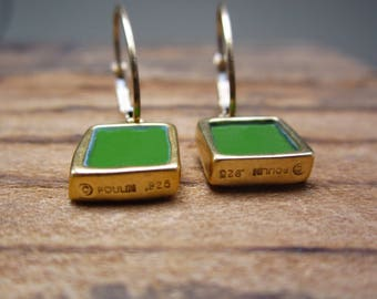 Reversible Enamel and Vermeil Earrings in Dark Green and Cobalt