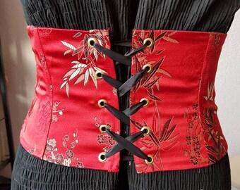 Waist cincher / corset belt red unique handmade Sofya FDX.
