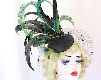 Black Feather Fascinator with Dotted Veil, Showgirl Peacock Headpiece, High Fashion Hat, Ascot Races, Kentucky Derby, Halloween Wedding