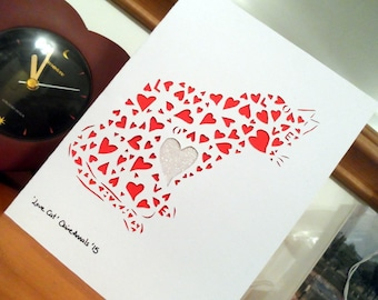 Love Cat - Papercutting template for card (commercial use)