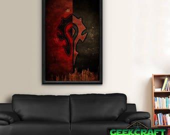 Horde Banner, Hordes Banner, HS, WOW, World of Warcraft, Warcraft, Horde WOW, Hordes, Horde, Pandaria, Legion, World, wow Horde Poster Print