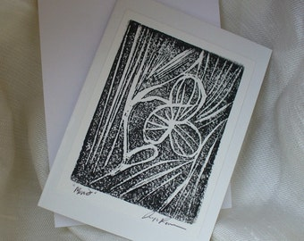Black and White Monoprint Note Card