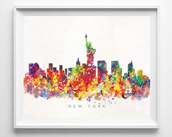 New York Skyline, Print, Watercolor Print, NYC Wall Art, Watercolor Art, City Poster, Cityscape, Home Decor, Mothers Day Gift