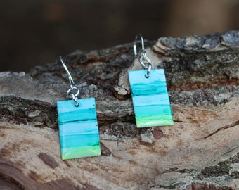 Teal and Lime Green Hand Painted Earrings