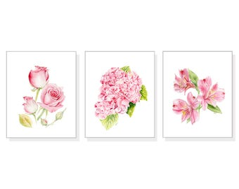 Flower Wall Art Floral Wall Art Flower Decor Flower Wall Decor Pink Home  Decor Pink Flower Art Floral Art Rose Hydrangea Lily Print Set Of 3