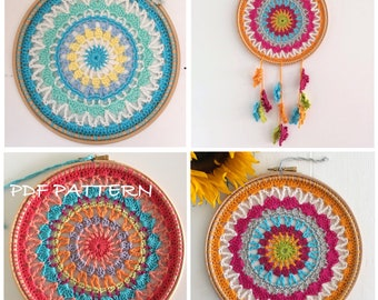 Crochet Pattern, Mandala Dream Catcher Sun Catcher, Crochet Mandala Pattern Doily pattern - Instant Download PDF Crochet Pattern Tutorial