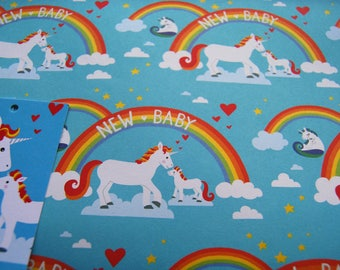 New Baby Wrapping Paper - Unicorn Gift Wrap - New Baby Gift Wrap - Unicorn Wrapping Paper - Recycled Wrapping Paper - Recycled Gift Wrap
