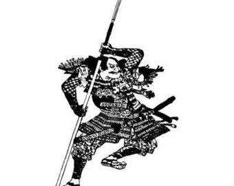 Japanese Samurai Warrior unmounted rubber stamp, ronin, bushi, Sweet Grass Stamps No.12
