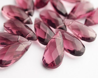 10 Faceted Glass Tear Drop Beads Amethyst Purple Size 22 x 10mm