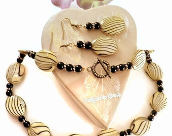 Yellow and Black Abalone Shell Necklace and Earring Set - Yellow Necklace Set