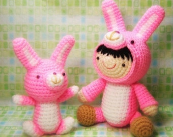 Girl in a Bunny Suit and Her Pet - Amigurumi Crochet Pattern - Instant PDF Download