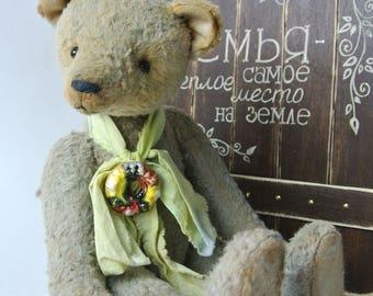 Teddy bear Mika vintage, aged, grey, OOAK