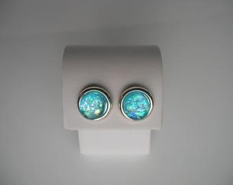 Aqua Blue Dichroic Glass Earrings Dichroic Glass Jewelry Fused Glass Jewelry Stud Earrings
