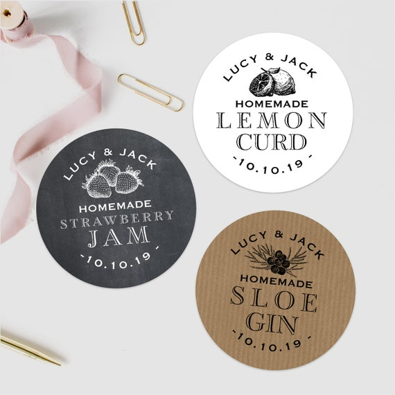 Personalized wedding thank you stickers, Jam wedding favors, Wedding Stickers, Jam jar labels, Labels for handmade items, Homebrew labels