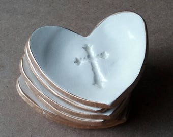 ONE Ceramic Heart First Communion Favors Christening Favors small ring dishes edged in gold  baptism favors
