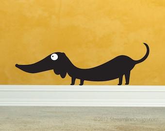 Dachshund Vinyl Wall Art | wall decal doxie wiener dog funny dog wall sticker hot dog lover dog wall sticker sausage dog vinyl wall art dogs