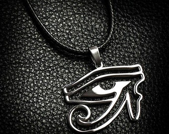 Eye of Horus Necklace, Leather Necklace, Egyptian Necklace, Mens Leather Necklace, Mens Necklace, Eye of Horus Jewelry, Eye of Horus Pendant