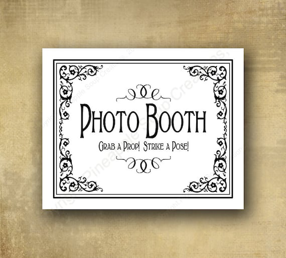 Photo Booth Grab a Prop, Strike a Pose Wedding sign - PRINTED wedding signage - optional add ons - White and Black Tie collection