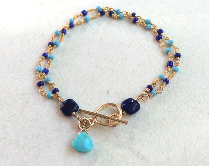 Turquoise and Lapis Bracelet  Wire Wrapped on Gold