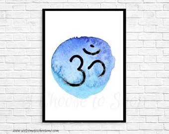 Om or Aum Printable Art, Instant Download, Yoga Meditation Decor, Printable Wall Art, 5x7 print, 8x10 print, Meditation Art, Yoga Art