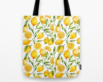 Lemon Tote Bag, Farmers Market Tote, Yellow Canvas Totes, Zero Waste Totes, Grocery Produce Totes, Large Tote Bags, Summer Totes, Beach Tote
