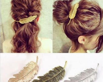 Beautiful hair feather barrette