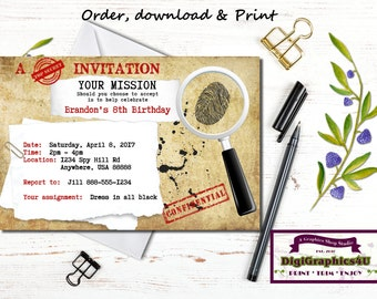 Secret Agent, Spy or Detective Birthday Party Invitation and/or Party Package for Boys - Personalized Printable File