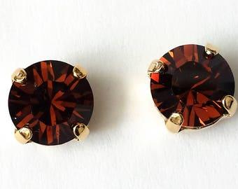 Dark Topaz Stud Earrings Crystal Topaz Earrings Swarovski Stud Earrings Bridesmaid Jewelry Swarovski Crystal Earrings Topaz Earrings