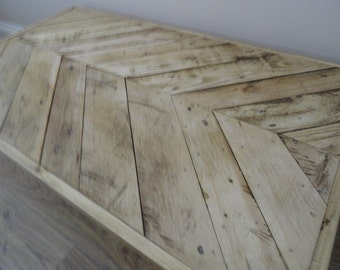 Reclaimed Wood Coffee Table with Chevron Pallet Design