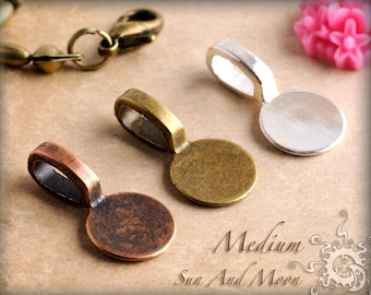 100 Medium Round Glue On Pendant Bails ~ Glue On Bails ~ Use With Our FX GLASS And Rolo Chains ~ Shiny Silver ~ Antique Bronze and Copper