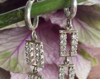 Zirconia Earrings, Bridal Earrings, Sterling Silver Earrings, Long Silver Earrings, Bridal, Bridal Jewelry
