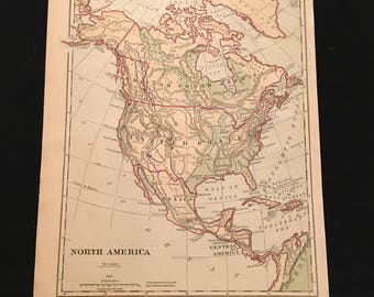 1879 Map of North America, Original Antique Map, Vintage Physical and Political Map