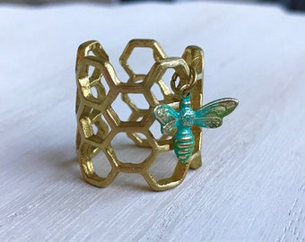 Bee Ring, Honeycomb Ring, Hexagon Ring, Beehive, Beekeeper Jewelry, Bug Ring, Insect Ring, Geometric Ring, Christmas Gifts, Novelty Ring