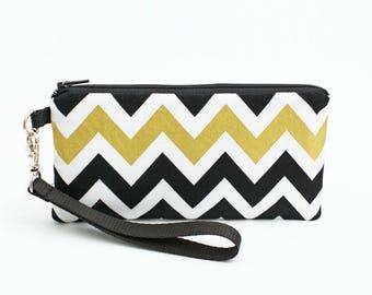 Gold Cell Phone Bag, Smartphone Purse, Makeup Wristlet, iPhone 8 Plus Case, Women's Wrist Wallet - metallic gold black chevron