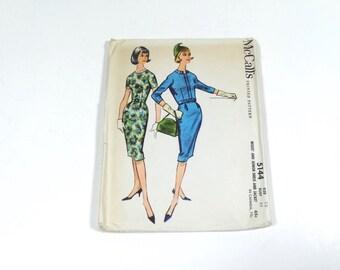 50s Sheath Dress and Jacket Pattern - McCalls 5144 1959 Dress Pattern with Jacket - Size 12 - Vintage Pattern 1950s Pattern