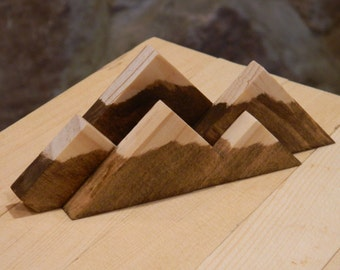 NEW LOWER PRICE - Mountain Range Snow Capped Wood Business Card Display Holder, Rustic - Mountain Series - The Summit