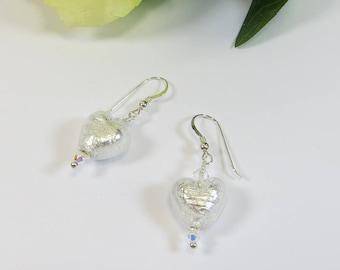 Murano Silverfoil Clear Heart Earrings, Venetian Glass w Swarovski Crystal and 925 Sterling Heart Earrings, Murano Venetian Heart Earrings