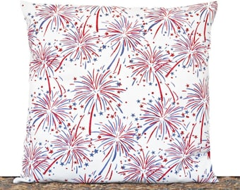 Patriotic Pillow Cover Cushion Fireworks Stars Red White Blue Memorial Day Fourth of July Americana Rustic Decorative 16x16