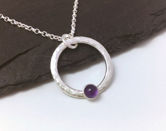 Amethyst necklace, February birthstone necklace, amethyst and sterling silver hammered circle, mothers day gift, birthday gift for her
