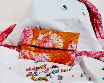 Gold and Pink Evening Batik Clutch Bag/Handmade/Handdyed/Eco Friendly/Textured Cotton/Gift For Her/Ethically Made/One-of-a-kind