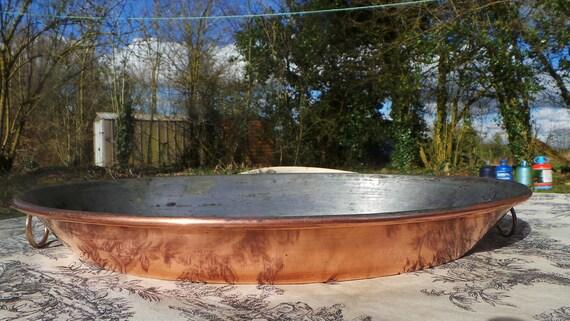 "Roasting Tin Au Gratin Pan Big Vintage Good Seasoned Tin Oven Dish Oval 39 cm 15 3/8"" Copper Pan Rivets Bronze Ring Handles 6307"