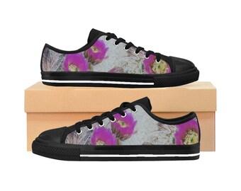 Desert Bloom Cactus Flower WomenS Sneakers Floral Womens Shoes Canvas Sneakers Desert Design Pink Flowers