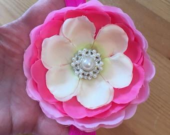 Pink petals infant headband