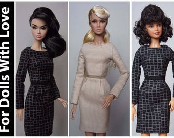 PDF Doll Clothes Pattern: Sheath Dress for Integrity Nu Face, Poppy Parker and Model Muse Barbie