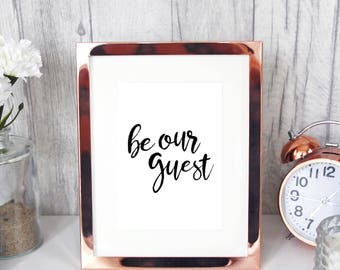 BE OUR GUEST from Beauty and The Beast 7x5 print home decor kitchen dining room pretty wall art Disney inspired typography Lumiere quote