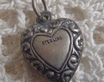 Vintage Charm Sterling Silver Puffy Heart