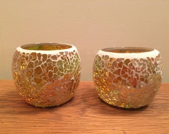 Pair of hand made mosaic tea light holders in gold / pale green