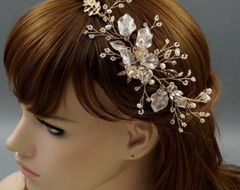 Bridal Hair Vine, Gold Hair Vine,  Gold Headpiece, Rustic Bridal Headpiece, Freshwater Pearl And Crystal Hair Vine HMH0216