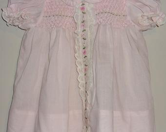 Vintage Polly Flinders Pink Smocked Baby Dress